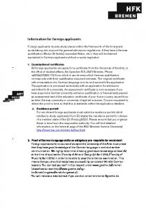 Information for foreign applicants