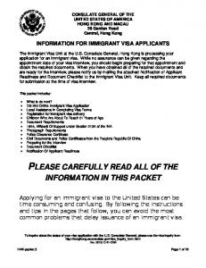 information for immigrant visa applicants
