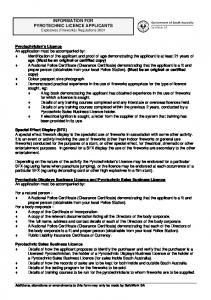 information for pyrotechnic licence applicants - SafeWork SA