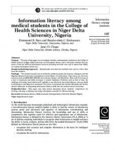 Information literacy among medical students in the ... - Semantic Scholar