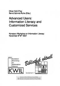 Information Literacy and Customized Services - KOPS Konstanz