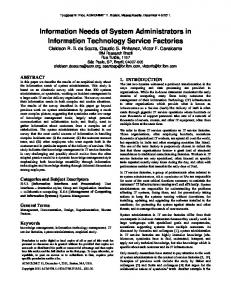Information Needs of System Administrators in Information Technology ...
