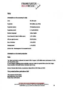Information on the economy in Italy Information on the book ...