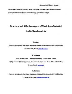Information Redundancy as a Measure of Mood in Film ... - UCSD Music