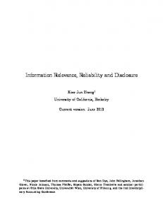 Information Relevance, Reliability and Disclosure