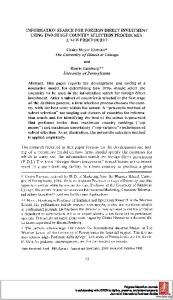 INFORMATION SEARCH FOR FOREIGN DIRECT ... - Semantic Scholar
