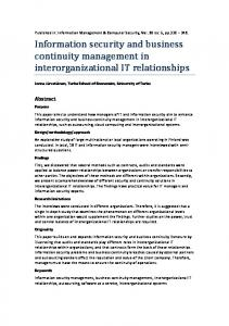 Information security and business continuity management in ...