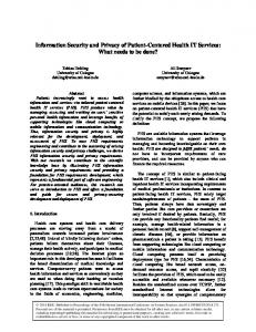 Information Security and Privacy of Patient-Centered Health IT ... - SSRN