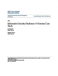 Information Security Disclosure: A Victorian Case ... - Research Online