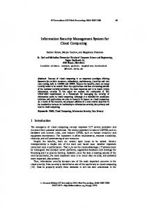 Information Security Management System for Cloud Computing