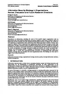 Information Security Strategy in Organisations: Review ... - arXiv
