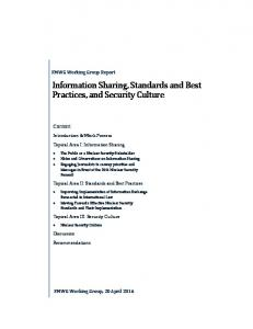 Information Sharing, Standards and Best Practices, and Security Culture