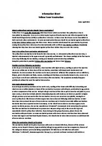 Information Sheet Yellow Fever Vaccination