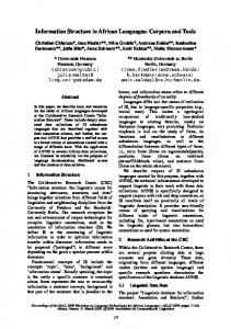 Information Structure in African Languages ... - Semantic Scholar