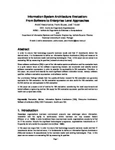 Information System Architecture Evaluation: From Software to