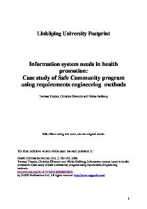 Information system needs in health promotion: Case study of Safe ...