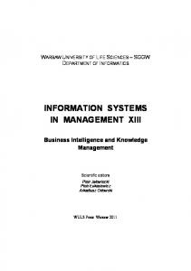 INFORMATION SYSTEMS IN MANAGEMENT XIII Business ... - Sggw