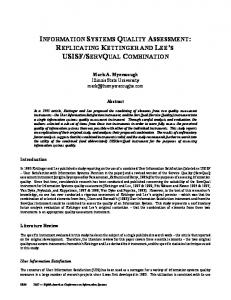 INFORMATION SYSTEMS QUALITY ASSESSMENT: REPLICATING ...