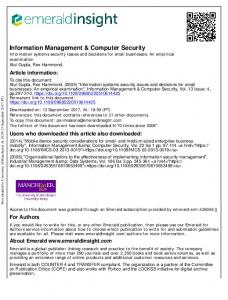 Information systems security issues and decisions for