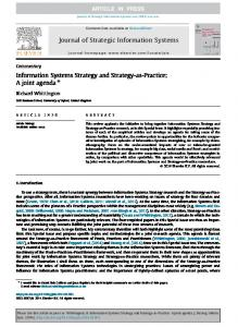 Information Systems Strategy and Strategy-as-Practice: A joint agendaq