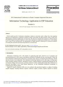 Information Technology Application in ESP Education - Science Direct