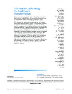 Information technology for healthcare transformation - GotzFamily.org