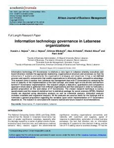 Information technology governance in Lebanese ... - Academic Journals