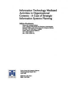 Information Technology Mediated Activities in Organizational Contexts ...