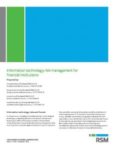 Information Technology Risk Management for Financial Institutions