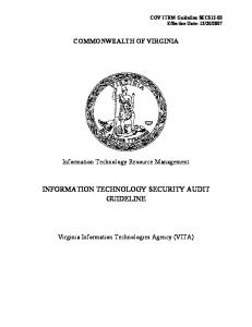INFORMATION TECHNOLOGY SECURITY AUDIT GUIDELINE