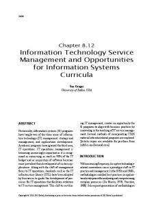 Information Technology Service Management and