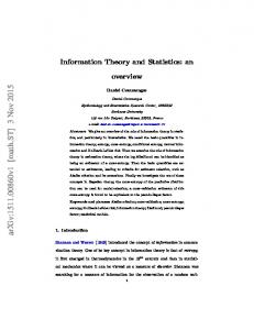 Information Theory and Statistics: an overview - arXiv