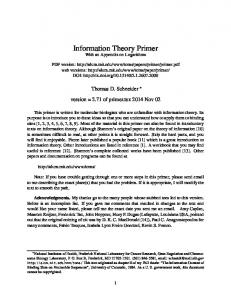 Information Theory Primer - Molecular Information Theory and the ...