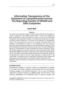Information Transparency of the Statement of Comprehensive Income ...