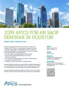 Informational Brochure - APICS - Houston Chapter
