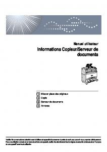 Informations Copieur/Serveur de documents