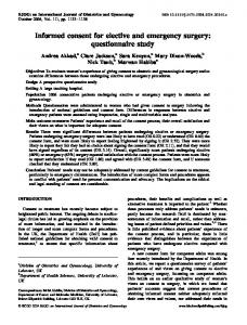Informed consent for elective and emergency ... - Wiley Online Library