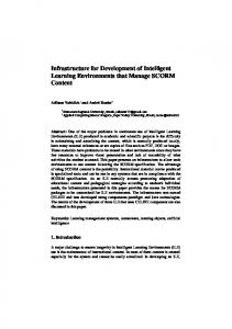 Infrastructure for Development of Intelligent Learning ... - IFIP