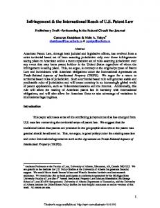 Infringement & the International Reach of US Patent Law - SSRN papers