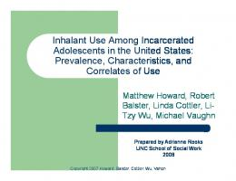 Inhalant Use Among Incarcerated Adolescents in