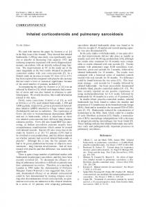 Inhaled corticosteroids and pulmonary sarcoidosis - European ...