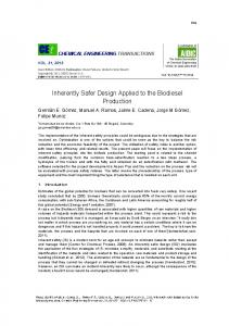 Inherently Safer Design Applied to the Biodiesel Production - aidic