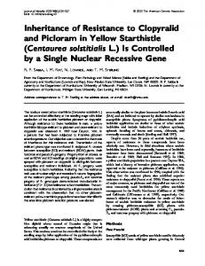Inheritance of Resistance to Clopyralid and Picloram in Yellow ...