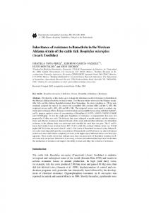 Inheritance of resistance to flumethrin in the Mexican Aldama ... - PubAg