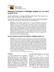 Inheritance of resistance to Meloidogyne incognita race 3 in ... - SciELO