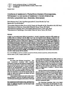 Inheritance of resistance to Phytophthora infestans ... - Semantic Scholar
