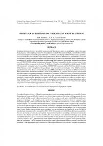 inheritance of resistance to turcicum leaf blight in sorghum abstract ...