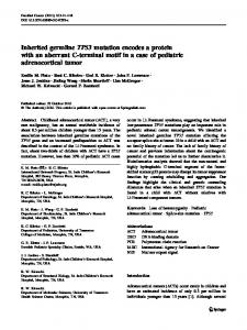 Inherited germline TP53 mutation encodes a protein ... - Springer Link