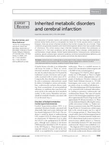 Inherited metabolic disorders and cerebral infarction