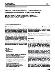 Inhibition control impairments in adolescent smokers - Springer Link